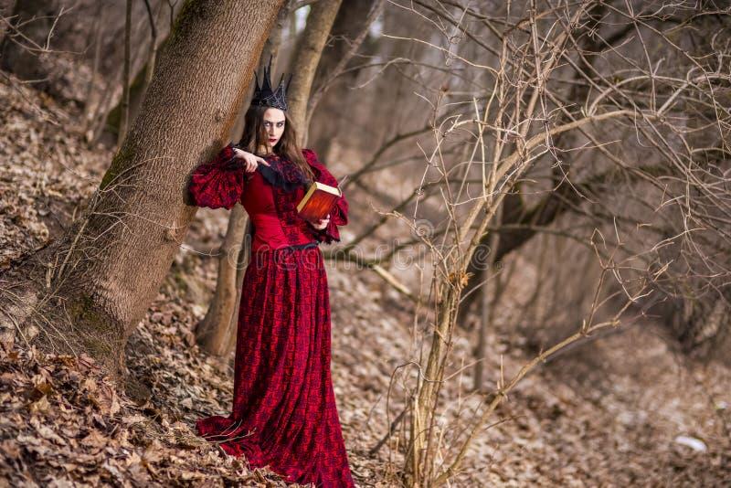 Photographie d'art Princesse féerique mystérieuse magnifique dans la robe rouge et la couronne noire avec le vieux livre Pose en  photos libres de droits