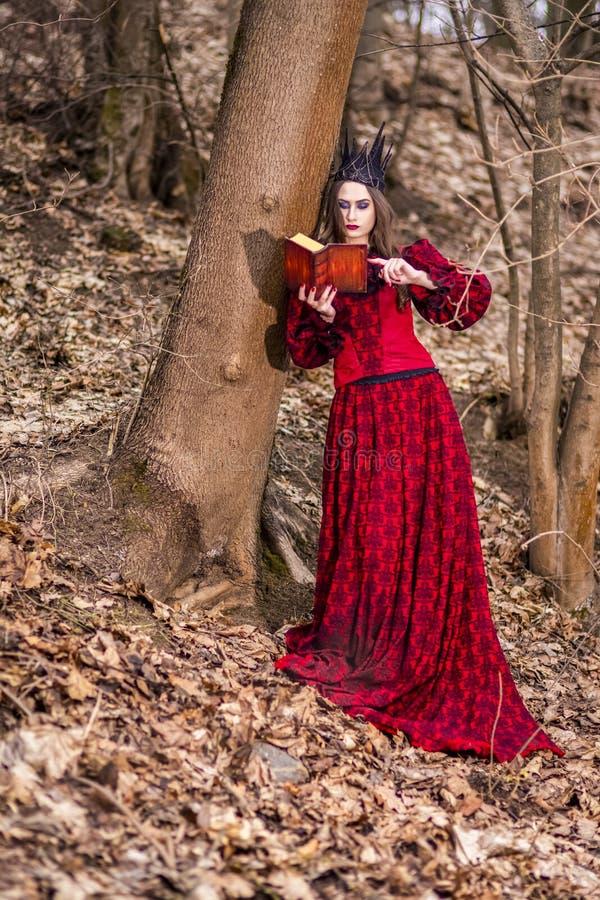 Photographie d'art Princesse féerique mystérieuse magnifique dans la robe rouge et la couronne noire avec le vieux livre Pose en  image libre de droits