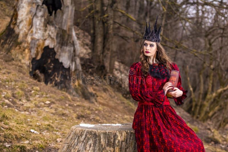 Photographie d'art Reine médiévale mystérieuse dans la robe rouge et la couronne noire en épi posant avec le livre antique dans l images stock