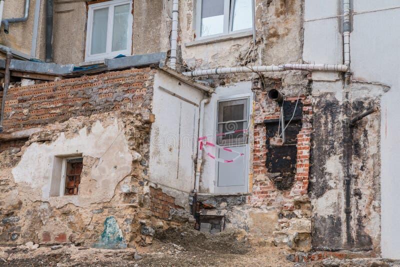 Photographie d'une maison de démolition en danger de s'effondrer, Allemagne photographie stock