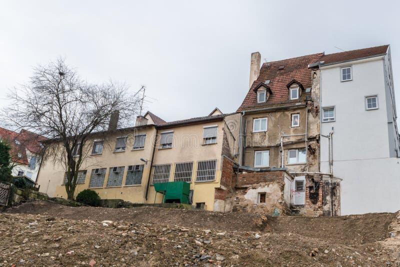 Photographie d'une maison de démolition en danger de s'effondrer, Allemagne photographie stock libre de droits