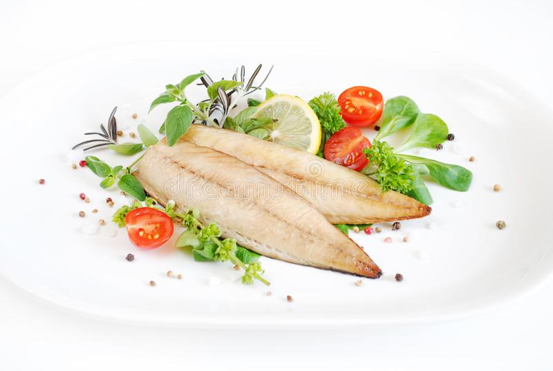 Photographie de fruits de mer d'isolement sur le blanc images stock