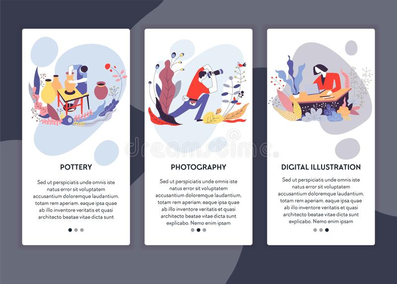 Photographie de poterie et calibre numérique de page Web d'illustration illustration stock