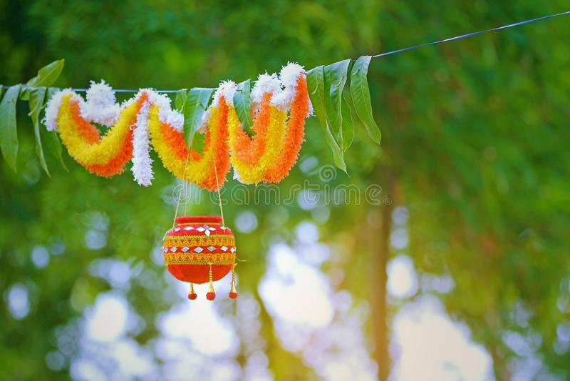 Photographie du dahi handi sur le festival de gokulashtami dans l'Inde, qui est jour de naissance du ` s de Lord Shri Krishna photographie stock libre de droits