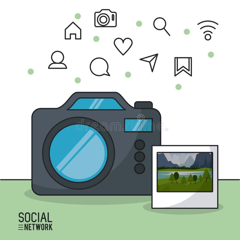Photographie et réseau social illustration stock