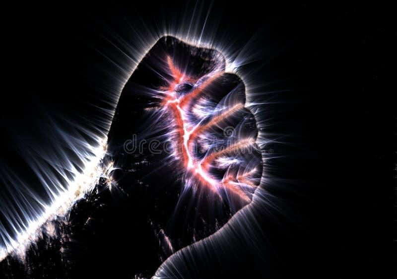 Photographie kirlian rougeoyante d'aura d'une main masculine humaine montrant diff?rents signes et symboles illustration stock