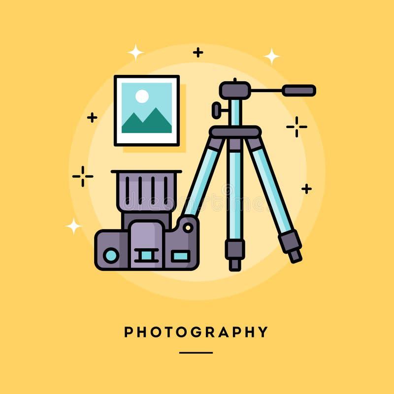 Photographie, ligne mince bannière de conception plate illustration de vecteur