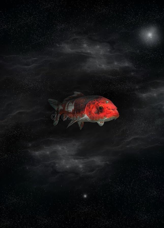 Photographie rouge de poissons de l'espace et sorte graphique de poisson-chat de travail illustration libre de droits