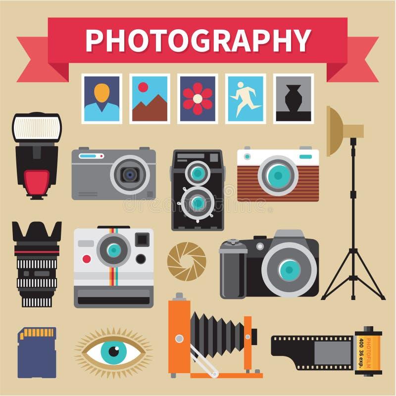 Photographie - vecteur d'icônes réglé - photos créatives de conception dans le style plat illustration libre de droits