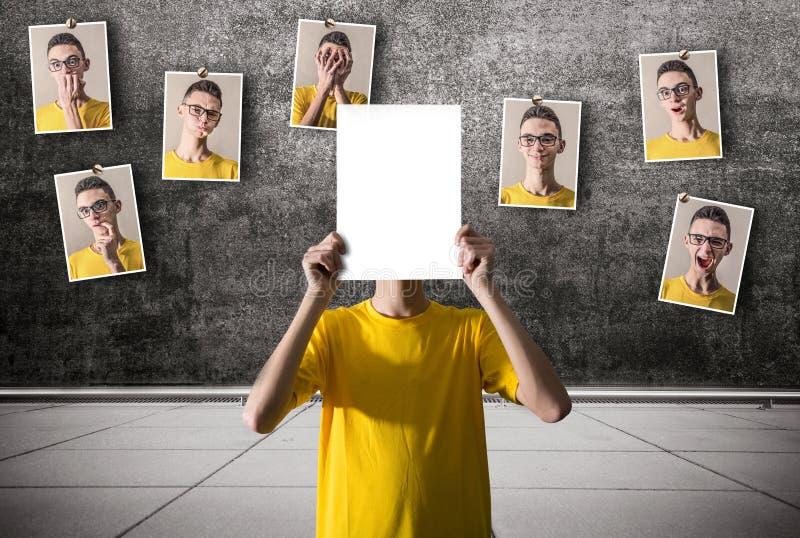 Photographies accrochées avec de diverses expressions photographie stock libre de droits