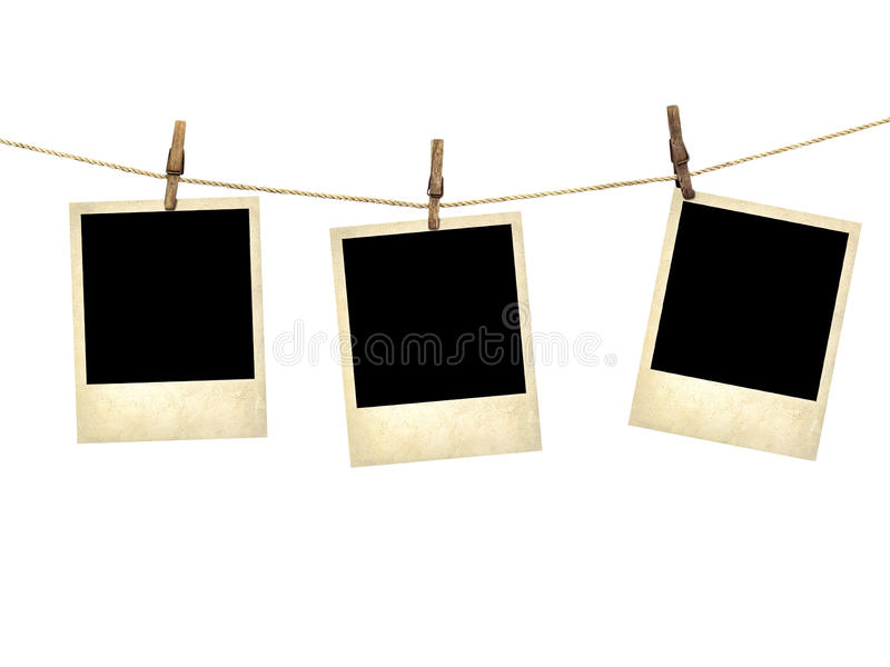 Photographies de style ancien accrochant sur une corde à linge photos libres de droits
