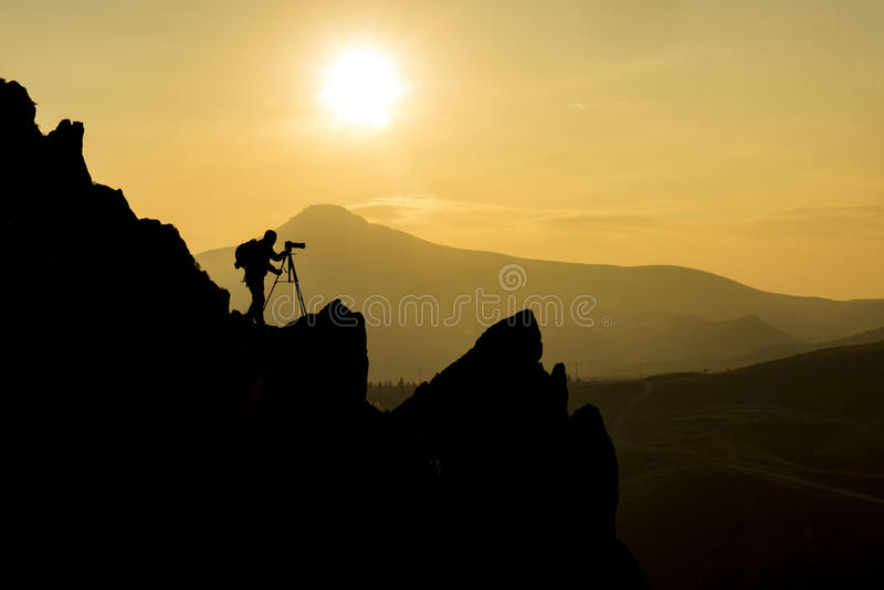 Photographing in rocky. Unusual shot program royalty free stock image