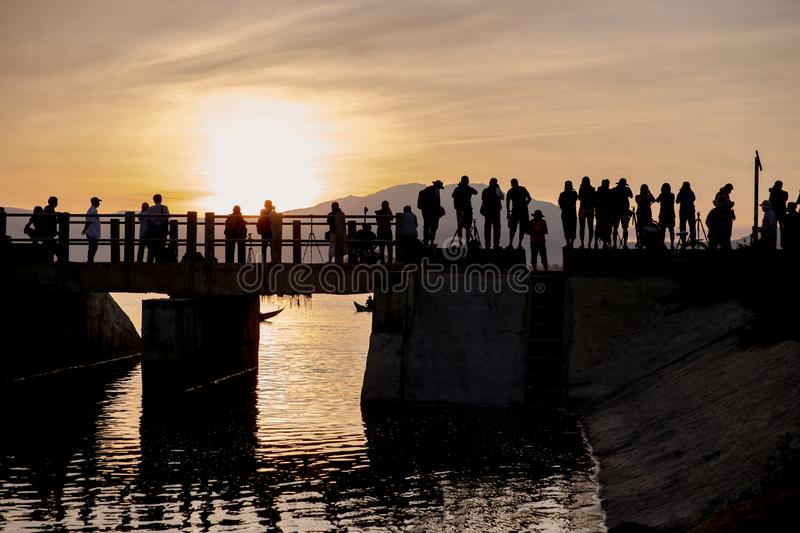Photographing the sunrise, Central Vietnam stock photo
