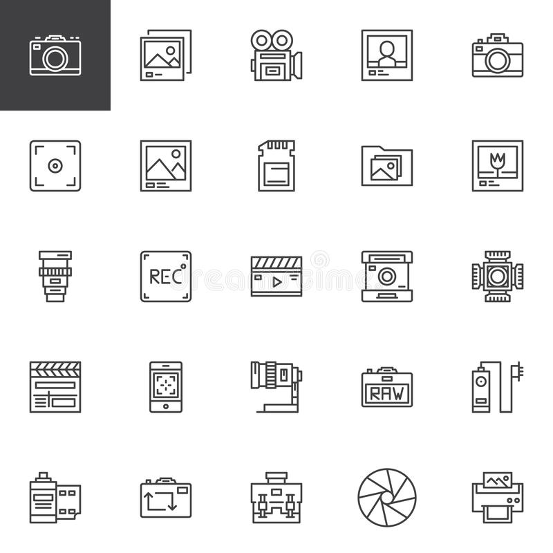 Photography accessories outline icons set royalty free illustration