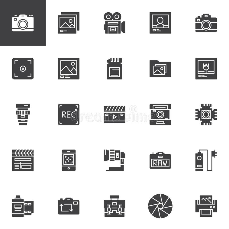 Photography accessories vector icons set royalty free illustration