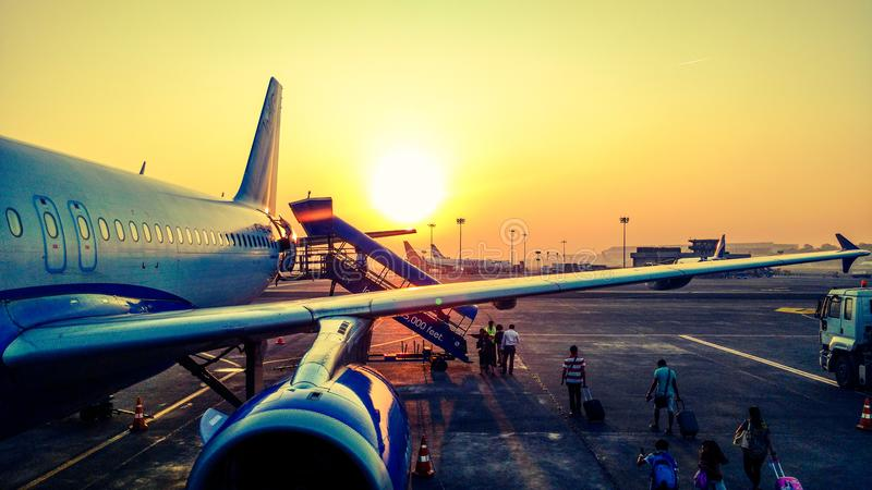 Photography of Airplane during Sunrise royalty free stock photography