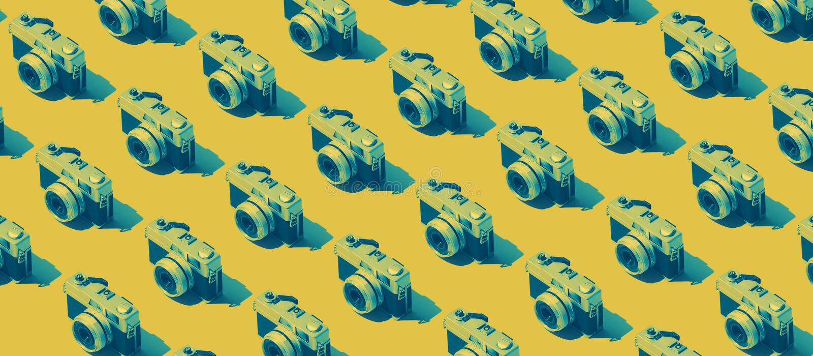 Photography background with cameras stock photo