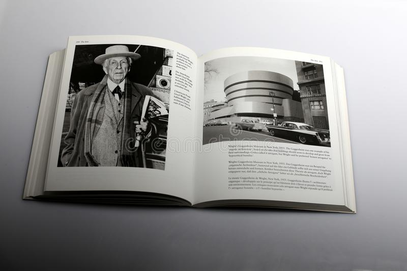 Photography book by Nick Yapp, Frank Lloyd Wright American architect and Guggenheim Museum In New York royalty free stock images