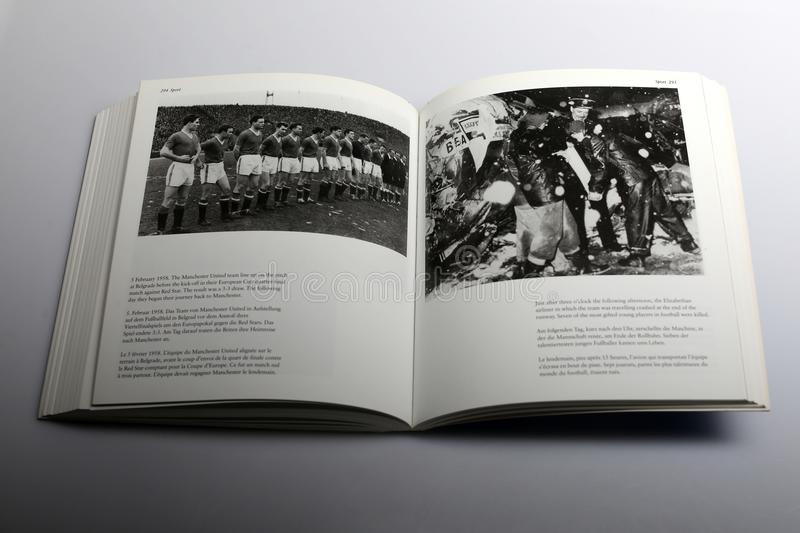 Photography book by Nick Yapp, Manchester United team line up. Title of book: 1950s: Decades of the 20th Century. Chapter 13, Sport chapter, page 294 Manchester royalty free stock photography