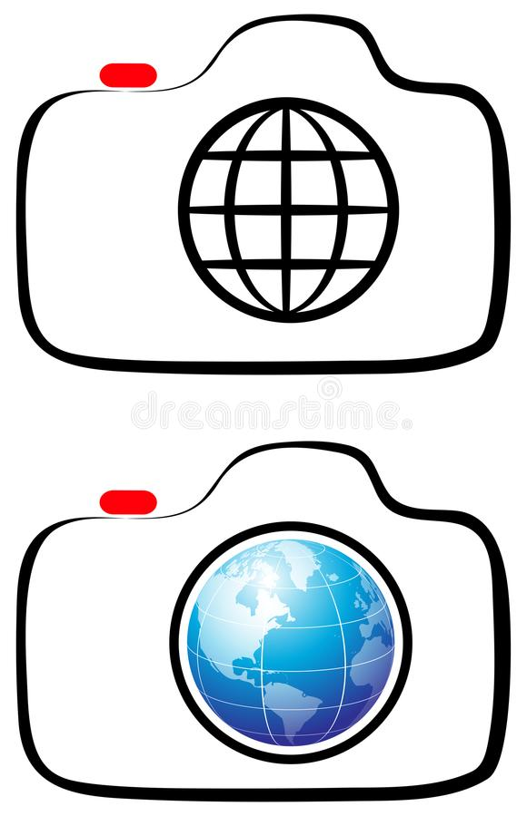Photography camera globe line art logo royalty free illustration