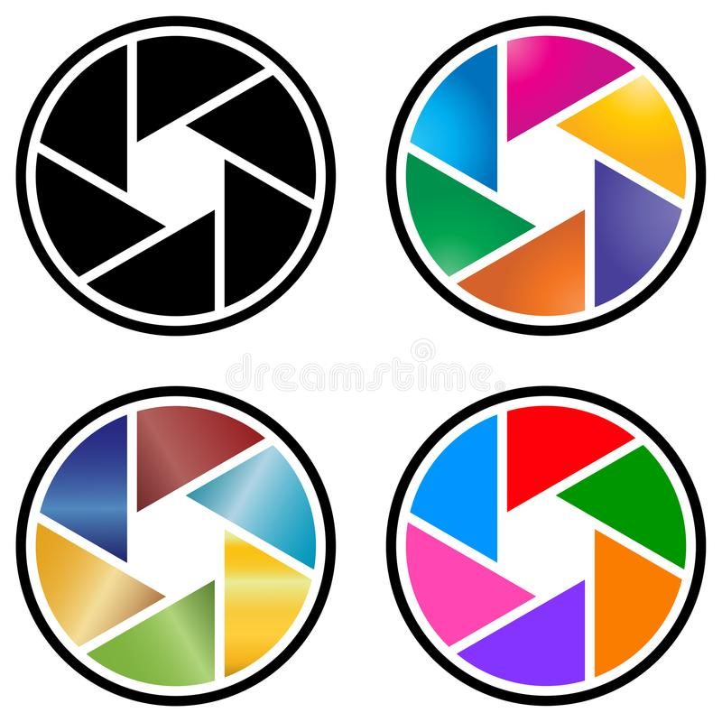Photography camera lens logo with colorful design royalty free illustration