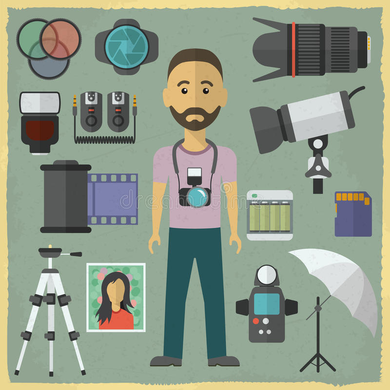 Photography character flat design. Photography royalty free illustration