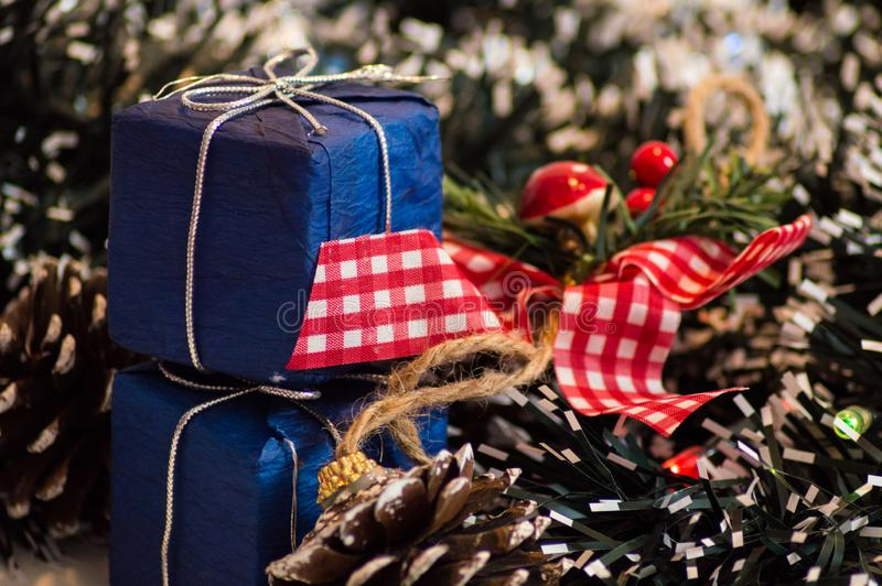 Photography of Christmas items on a garland royalty free stock images