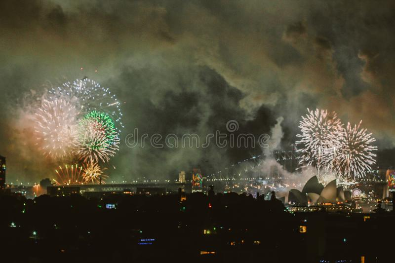 Photography Of City With Fireworks At Night royalty free stock photo