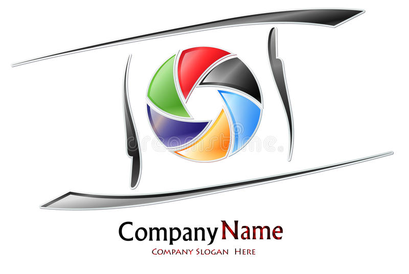 Photography company logo. Design for a photography company with a colored aperture royalty free illustration