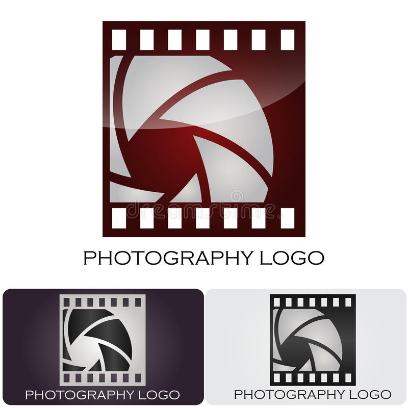 Photography company logo. Logo design for a photography company. The aperture is inside of a film stripe vector illustration