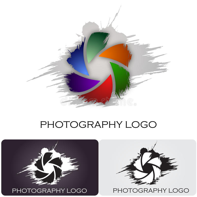 Photography company logo brush style. Logo design for a photography company. The aperture have a nice brush style royalty free illustration