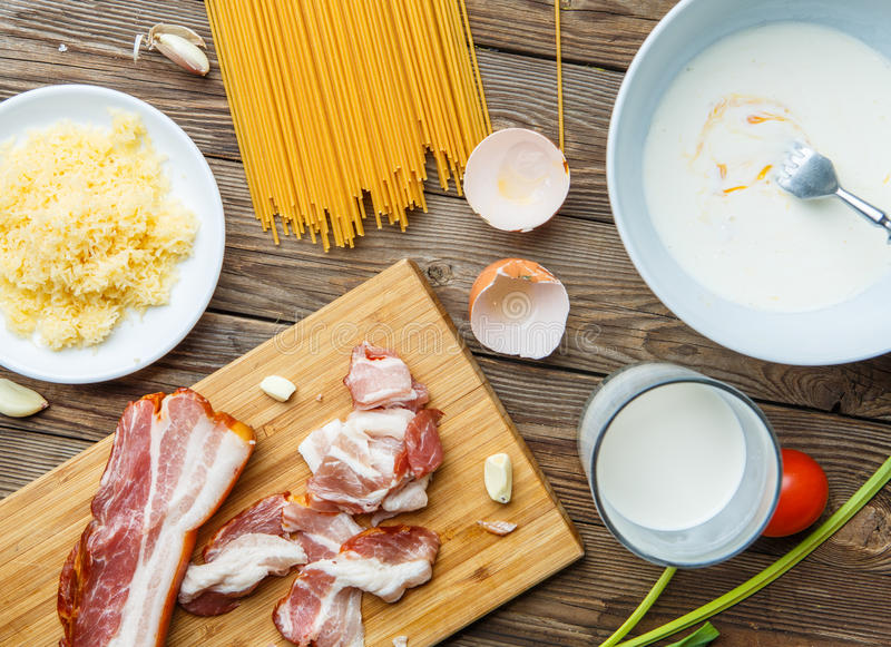 Photography of components for pasta stock image