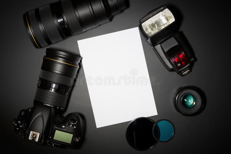 Photography concept with camera lense and copyspace stock photo