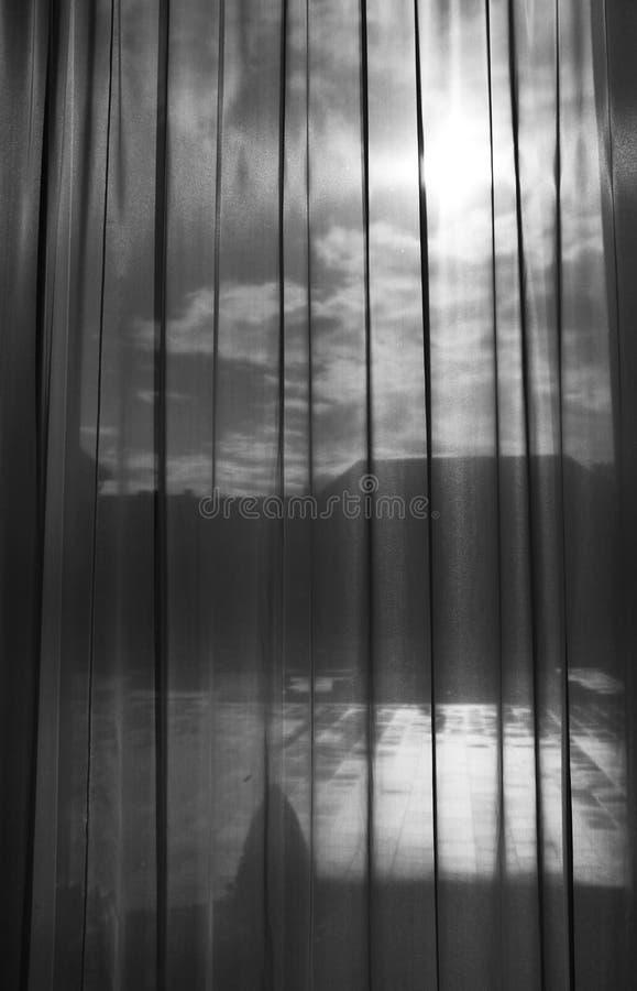 Photography through Curtain - Black and White - Art Exibition - Prague Castle. Prague, Czech republic stock images