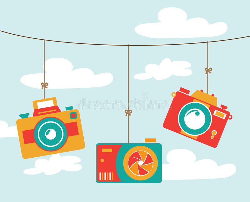 Photography design. Over cloudscape background, vector illustration royalty free illustration