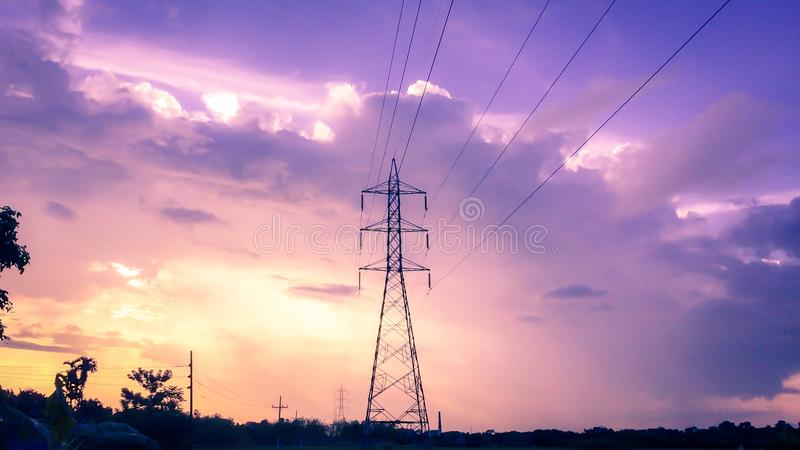 Photography of Electric Tower during Sunset royalty free stock photography