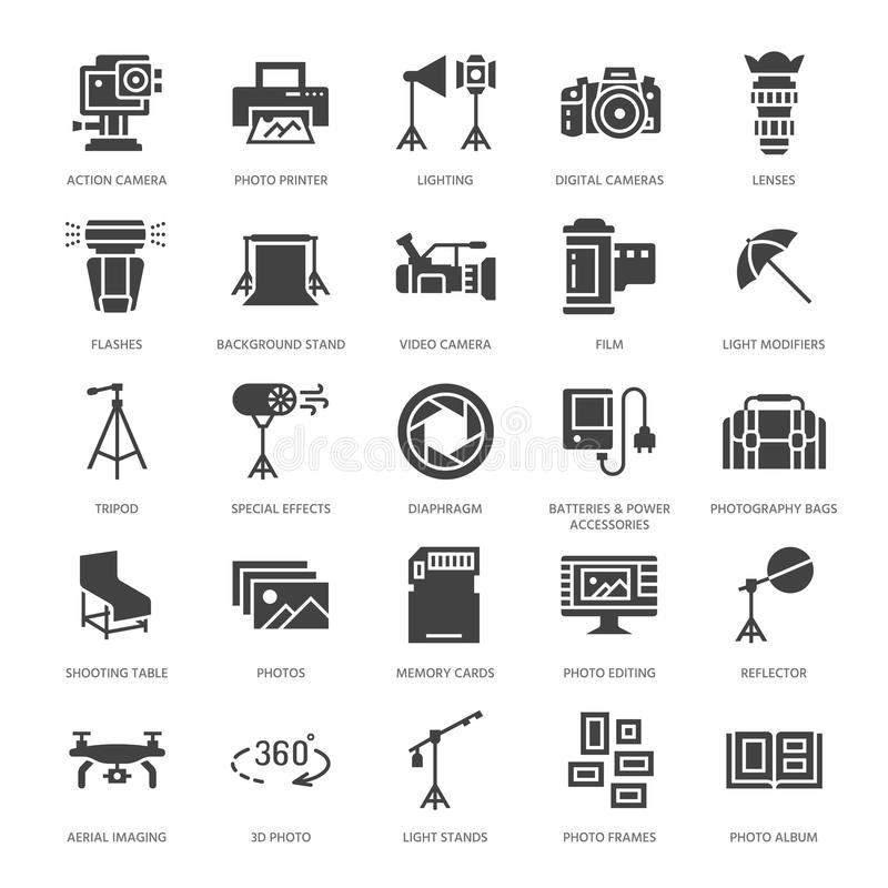 Photography equipment flat glyph icons. Digital camera, lighting, video cameras, accessories, memory card. Vector royalty free illustration