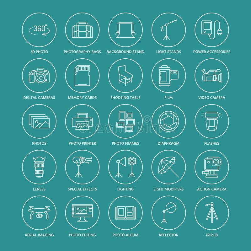 Free Photography Equipment Flat Line Icons. Royalty Free Stock Image - 101625406