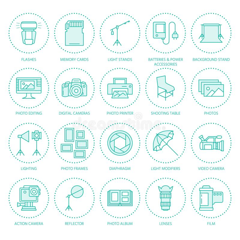 Free Photography Equipment Flat Line Icons. Digital Camera, Photos, Lighting, Video Cameras, Photo Accessories, Memory Card Royalty Free Stock Images - 102541189