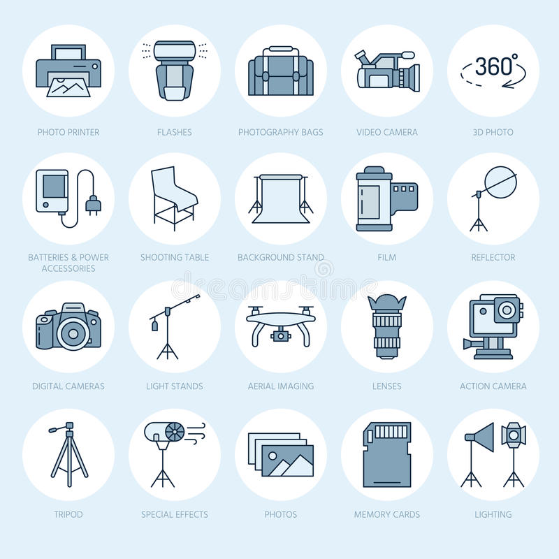 Photography equipment flat line icons. Digital camera, photos, lighting, video cameras, photo accessories, memory card vector illustration