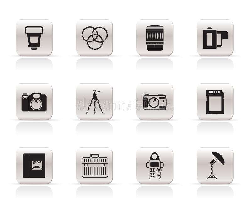 Photography Equipment Icons Royalty Free Stock Images