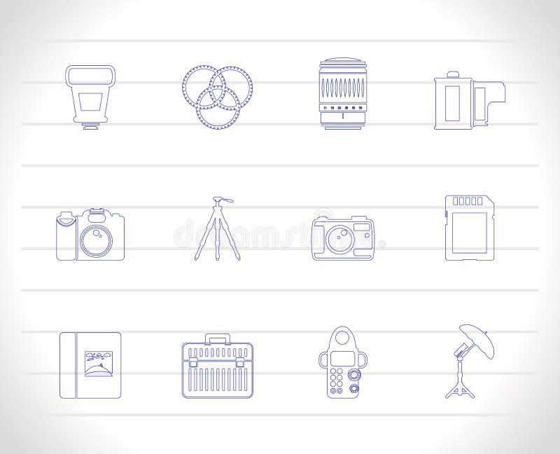 Photography equipment icons stock illustration