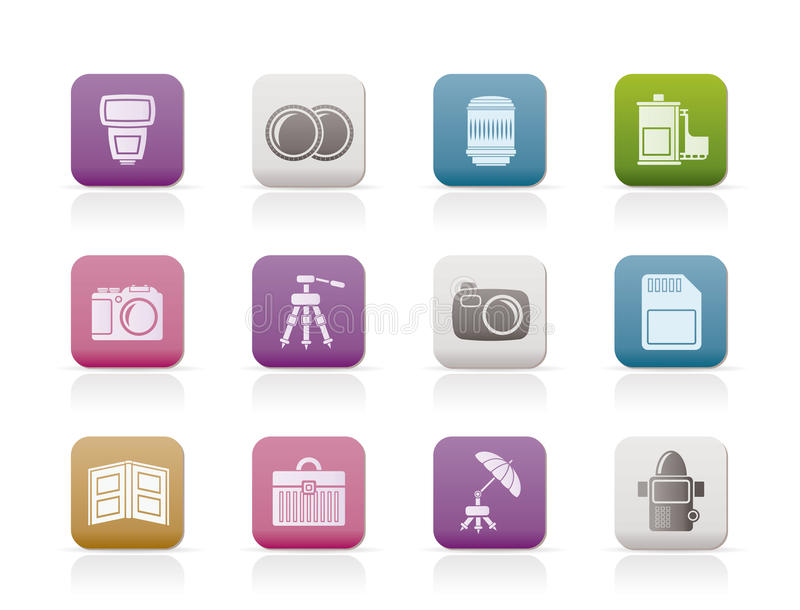 Photography equipment icons royalty free illustration
