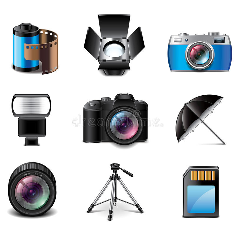Photography equipment icons vector set stock illustration