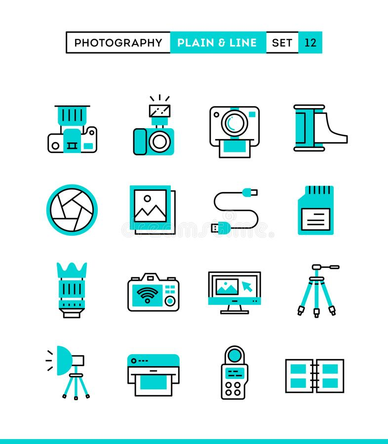 Photography, equipment, post-production, printing and more. Plain and line icons set, flat design, vector illustration vector illustration