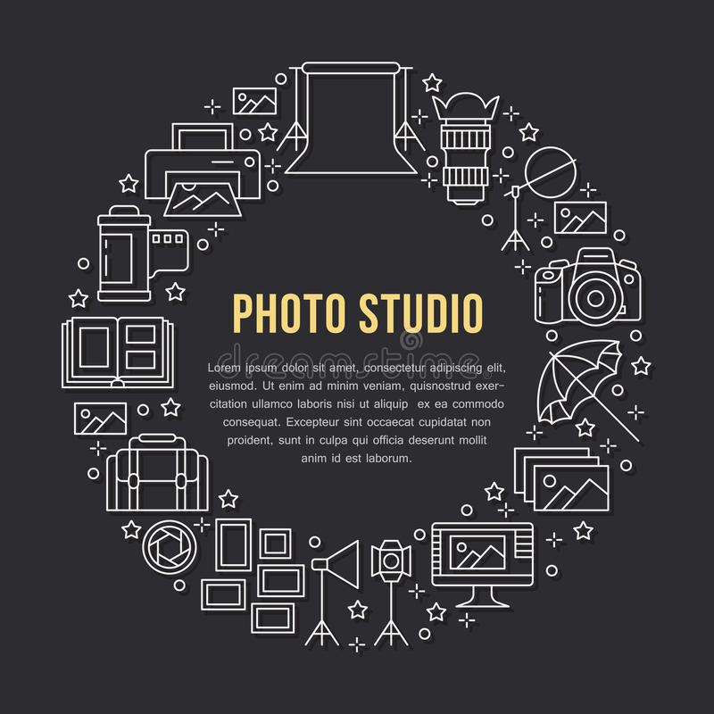Photography equipment poster with flat line icons. Digital camera, photos, lighting video cameras, photo accessories. Memory card, tripod. Vector circle royalty free illustration