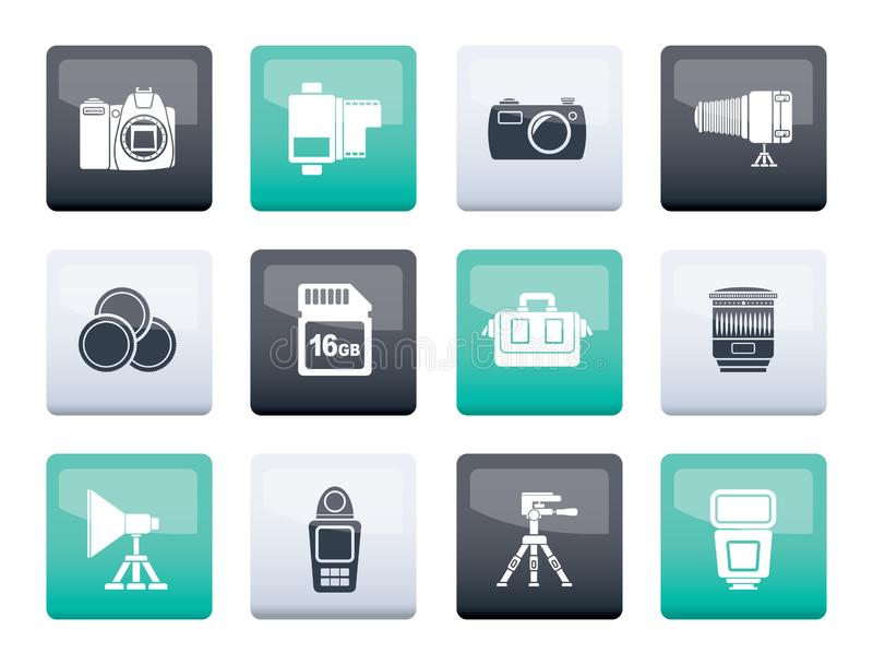 Photography equipment and tools icons over color background royalty free illustration