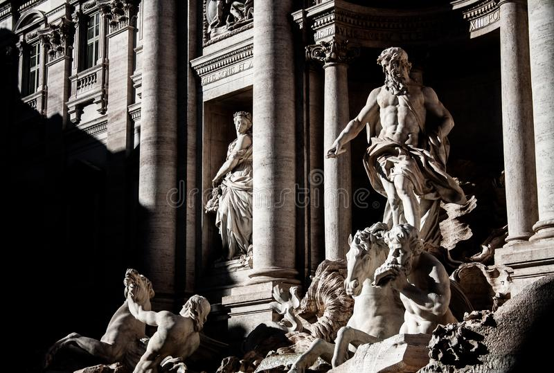 Photography of the Fontana di Trevi, Rome. Photography of the most popular fountain in the city of Rome: Fontana di Trevi stock photos