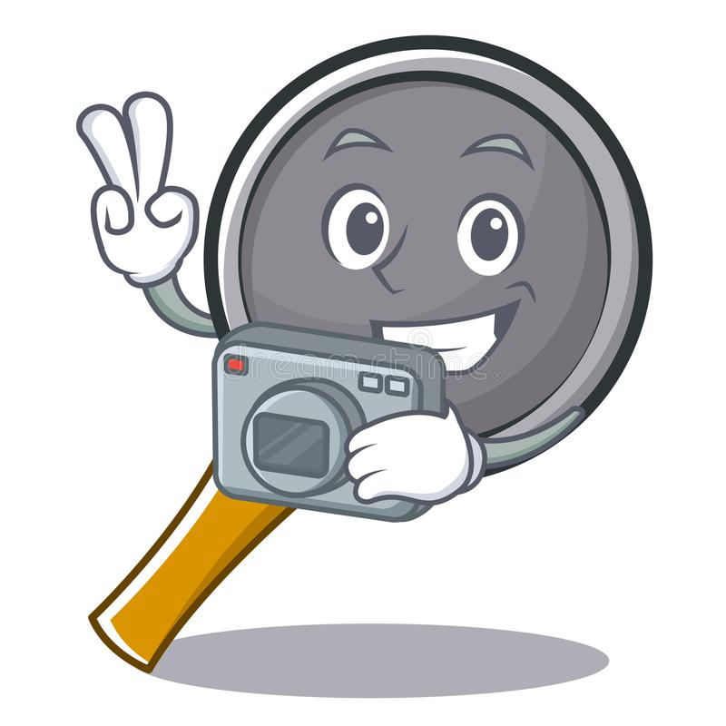 Photography frying pan cartoon character. Vector illustration royalty free illustration
