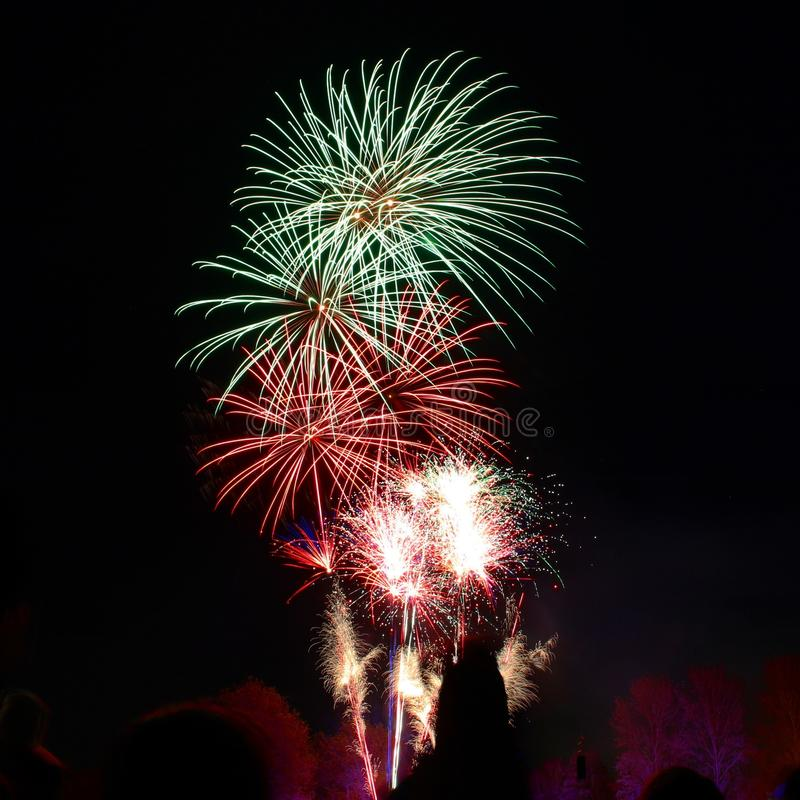 Photography of Green and Red Fire Works Display stock photo